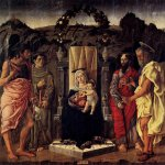 Marco Zoppo (1433 - 1498)   Madonna and Child Enthroned with Saints  Poplar panel, c. 1471  262 x 254 cm  Bode Museum, Berlin, Germany